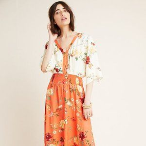 Farm Rio Kiera orange floral maxi dress size S